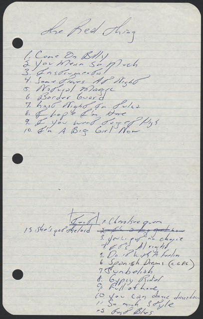 Bruce Springsteen handwritten setlist from the 22 or 29 Jul 1971 early and late shows at D'Scene, South Amboy, NJ