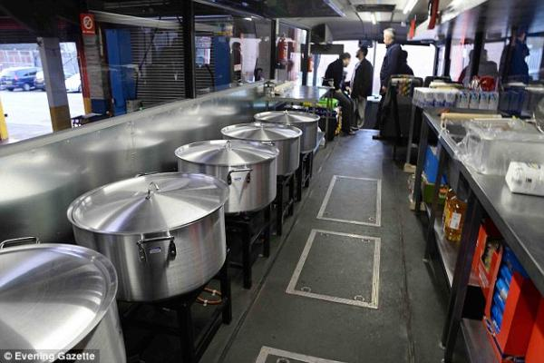 The kitchen inside the bus
