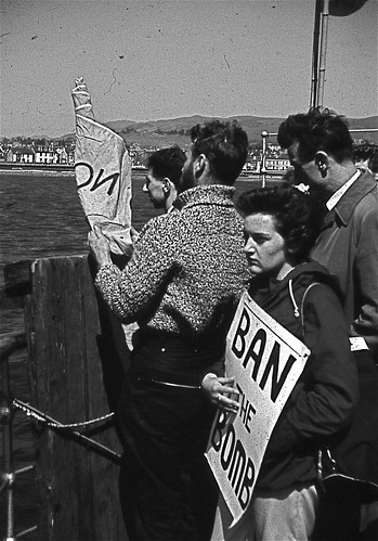 1961. Holy Loch, Argyll and Bute, Scotland. Campaign for Nuclear Disarmament (CND) demonstration