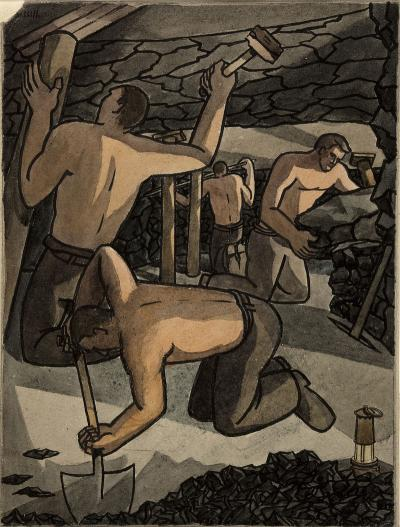 Coal_miners_at_work,_cutting_coal_and_propping_Artist_George_Bissill