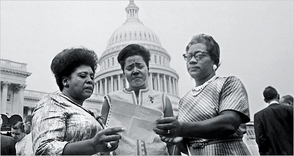 Fannie Lou Hamer, Victoria ‎Jackson Gray and Annie Devine in Washington in 1965‎