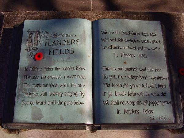 "Inscription of the complete poem in a bronze ""book"" at the John McCrae memorial at his birthplace in Guelph, Ontario, Canada."