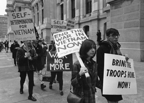 Pickets demonstrating against the Vietnam War as they march through downtown Philadelphia, Pa, March, 26 1966. (AP Photo/Bill Ingraham)