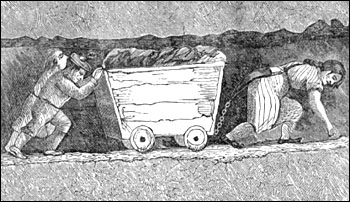 A hurrier and two thrusters heaving a corf full of coal, England 1853