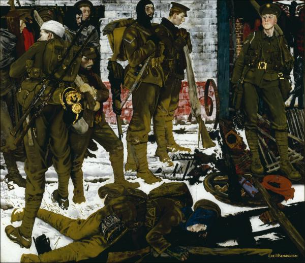 "The Kensingtons at Laventie, 1915, olio su tela di Eric Kennington, pittore, tra i soldati del 13° battaglione del London Regiment, detti ""The Kensingtons"""