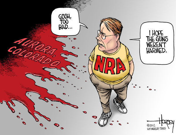 Vignetta contro la National Rifle Association dopo la strage di Aurora