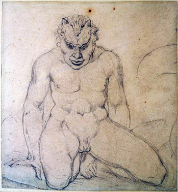 William Blake (1757-1827), A Squatted Devil with Young Horns, ca. 1810. Robert H. Taylor art collection.