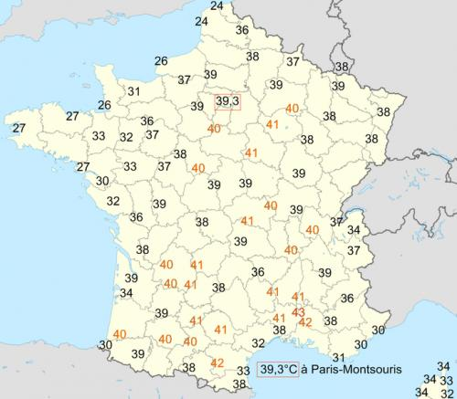 Le temperature massime in Francia il 12 agosto 2003.