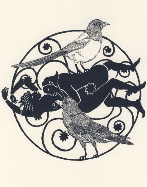 Crow and Pie. Illustrazione dal sito della Ballad Society of Japan.