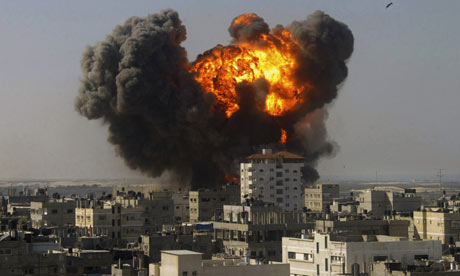 An Israeli air strike on Rafah, in the southern Gaza Strip, during the January 2009 conflict.
