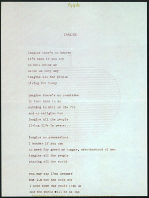 La prima stesura dattiloscritta effettuata da Lennon su un foglio di carta intestata della Apple. Lennon's first typewritten lyrics on a letter paper of Apple.
