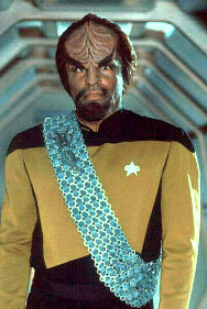 Il Capitano Worf, un Klingon. Dalla serie Star Trek. Capt. Worf, a Klingon. From the TV movie serial Star Trek.