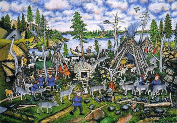 Picture of a Lapp village by Andreas Alariesto (1900 - 1989), native of the ancient Sami community Sompio in central Lappland. In the late 1960s, large parts of Sompio were drowned by the Lokka Reservoir.