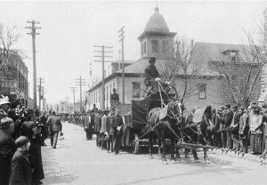 Coffins are marched through Trinidad, Colorado, at the funeral for victims of the Ludlow massacre.