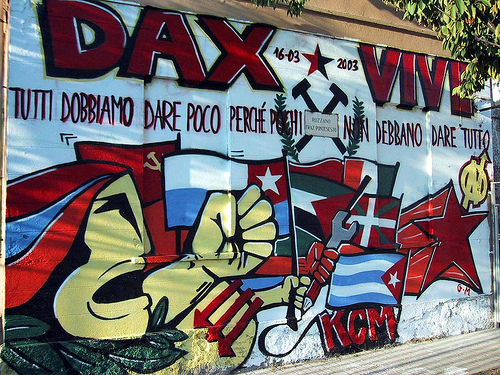 "Rozzano. Per Davide ""Dax"". Rozzano, Italy. For Davide ""Dax"", a social center activist killed by fascists."