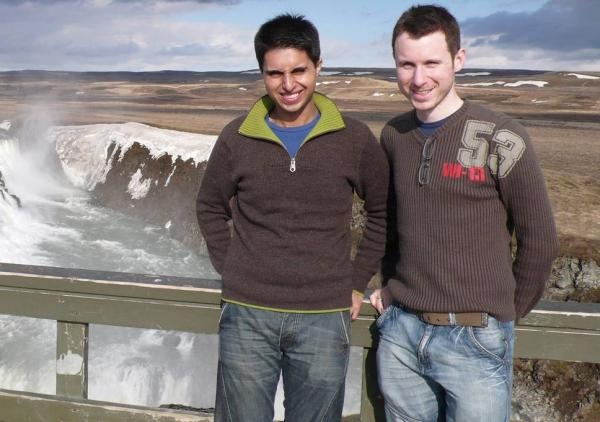 In love: Dr Nazim Mahmood (left) with fiancé Matthew Ogston