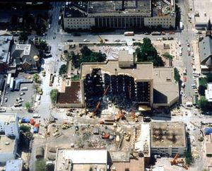 Aerial view of bombing site.