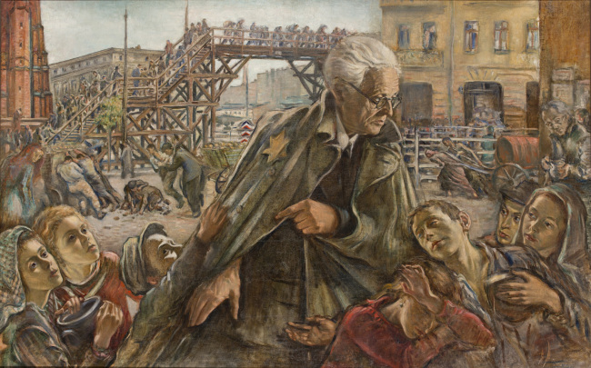 "Dipinto celebrativo di Chaim Rumkowski ""salvatore del ghetto"", di Izrael Lejzerowicz, pittore del ghetto di Łódź. A celebrative painting of Chaim Rumkowski ""saviour of the ghetto"", by the Łódź ghetto painter Izrael Lejzerowicz."