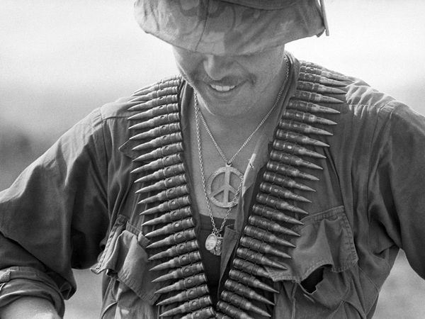 Peace pin on american soldier in Vietnam