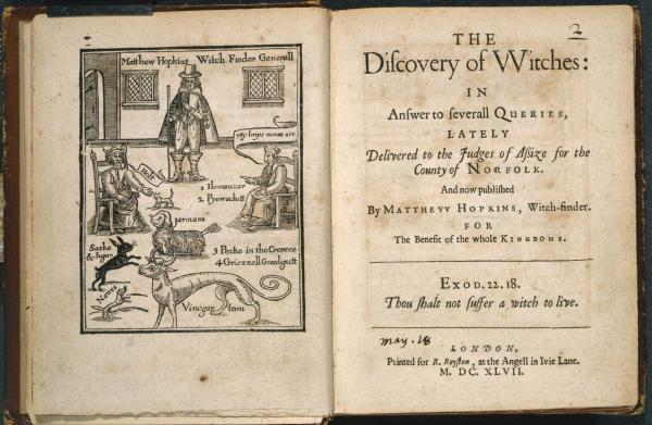 """The discovery of the witches"", 1647, ‎pagina dal manuale di caccia alle streghe scritto da Matthew Hopkins.‎"