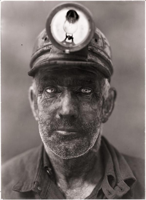 A close-up portrait of a coal miner in Omar, West Virginia, 1938